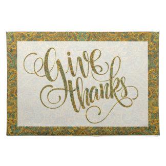 紅葉のペイズリーは及び文字デザインな感謝を与えます ランチョンマット