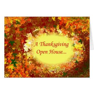 紅葉の感謝祭のオープンハウスの招待状 カード