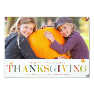 紅葉の感謝祭の写真カード 12.7 X 17.8 インビテーションカード