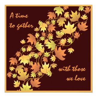 紅葉の感謝祭の夕食の招待状 カード