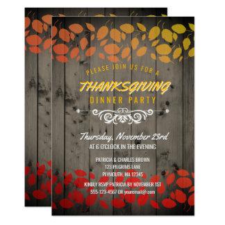 紅葉の感謝祭の夕食素朴なBarnwood 12.7 X 17.8 インビテーションカード