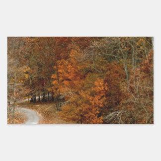 紅葉の景色の秋の木の葉のシカ 長方形シール