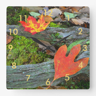 紅葉の柱時計 スクエア壁時計