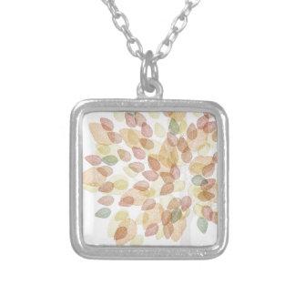 紅葉の樺の木 シルバープレートネックレス