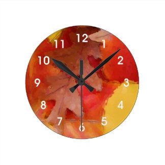 紅葉の水彩画の柱時計 ラウンド壁時計