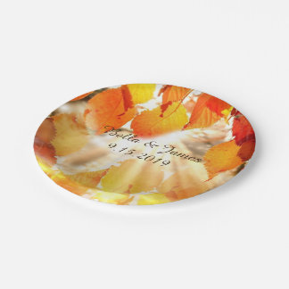 紅葉の秋の結婚式の紙皿 ペーパープレート
