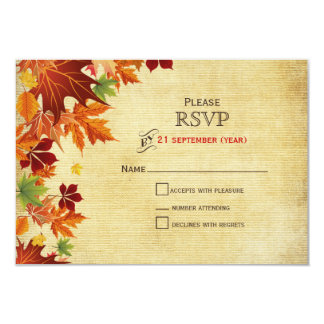 紅葉の素朴な結婚式 カード