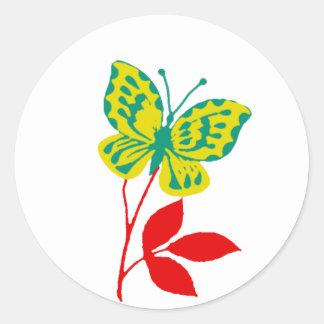 紅葉の黄色及び青の蝶 ラウンドシール