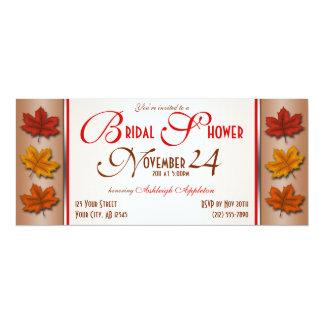 紅葉の11月のブライダルシャワー招待状 カード