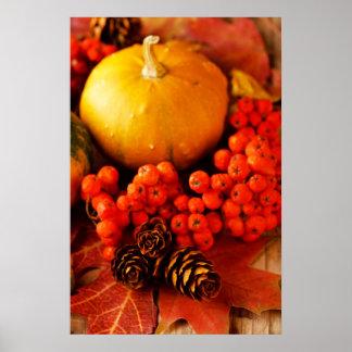 紅葉2が付いている収穫されたカボチャ ポスター