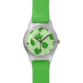 紅葉-エメラルドおよびライムグリーン 腕時計