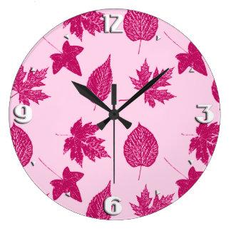 紅葉-バーガンディおよび貝のピンク ラージ壁時計