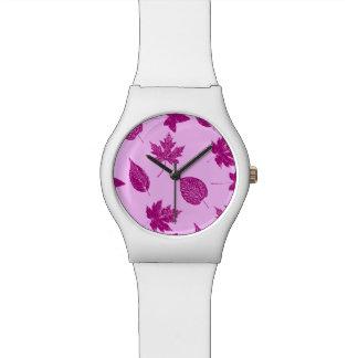 紅葉-プラムおよび蘭のピンク 腕時計