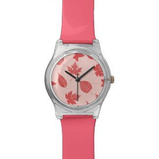 紅葉-珊瑚のオレンジおよびピンク 腕時計