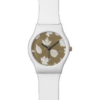 紅葉-白および暗灰色の日焼け 腕時計