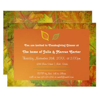 紅葉- 3x5感謝祭の夕食の招待 8.9 x 12.7 インビテーションカード