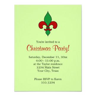 (紋章の)フラ・ダ・リのクリスマスのパーティの招待状 10.8 X 14 インビテーションカード