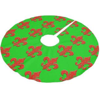 (紋章の)フラ・ダ・リのクリスマスツリーのスカート ブラッシュドポリエステルツリースカート