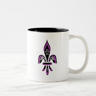 (紋章の)フラ・ダ・リのピンクの三色刷 ツートーンマグカップ