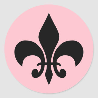 (紋章の)フラ・ダ・リのピンクの円形のステッカー ラウンドシール