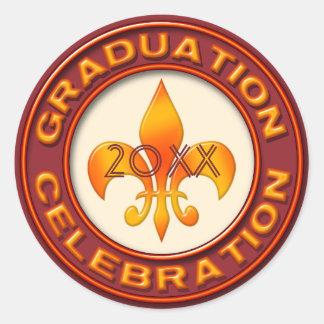 (紋章の)フラ・ダ・リの卒業のお祝い ラウンドシール