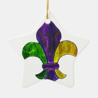 (紋章の)フラ・ダ・リの謝肉祭のニュー・オーリンズの宝石の輝き セラミックオーナメント