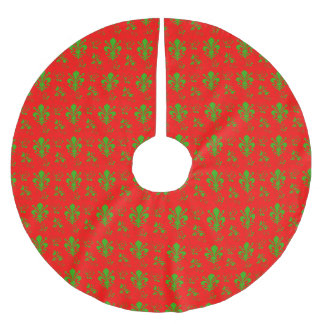 (紋章の)フラ・ダ・リの赤いおよび緑のクリスマスツリーのスカート ブラッシュドポリエステルツリースカート