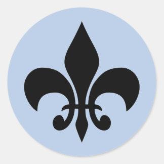 (紋章の)フラ・ダ・リの青い円形のステッカー ラウンドシール