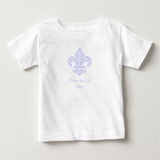 (紋章の)フラ・ダ・リのbébé™の白かラベンダー ベビーTシャツ