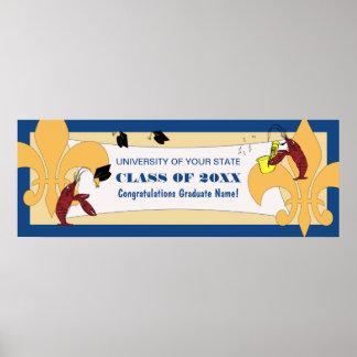 (紋章の)フラ・ダ・リのCrawfishの卒業の旗 ポスター