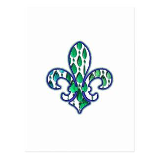 (紋章の)フラ・ダ・リのFlorニュー・オーリンズの宝石の青緑 ポストカード