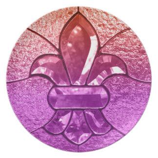 (紋章の)フラ・ダ・リのFlorニュー・オーリンズの宝石ガラス プレート