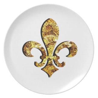 (紋章の)フラ・ダ・リのFlorニュー・オーリンズの金ゴールドのギア プレート