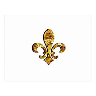 (紋章の)フラ・ダ・リのFlorニュー・オーリンズの金ゴールドのギア ポストカード