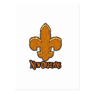 (紋章の)フラ・ダ・リのFlorニュー・オーリンズの金ゴールドの黒の火 ポストカード
