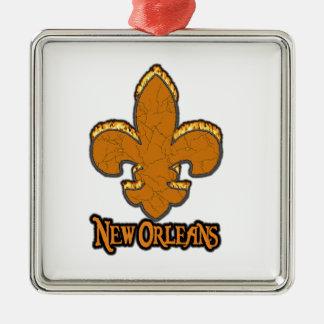 (紋章の)フラ・ダ・リのFlorニュー・オーリンズの金ゴールドの黒の火 メタルオーナメント