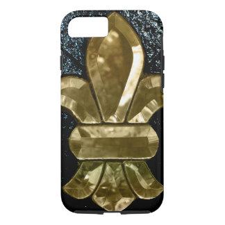 (紋章の)フラ・ダ・リのFlorニュー・オーリンズの金ゴールドの黒 iPhone 8/7ケース