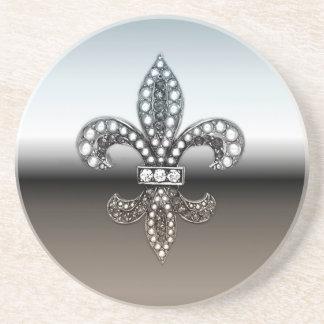 (紋章の)フラ・ダ・リのFlorニュー・オーリンズの銀製の黒 コースター