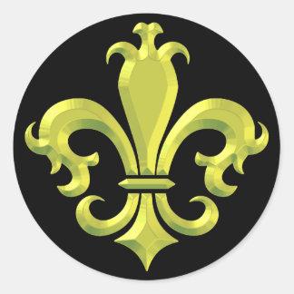 (紋章の)フラ・ダ・リは金ゴールドニュー・オーリンズを空想します ラウンドシール