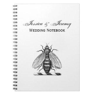 紋章プレッピーなHeraldicヴィンテージの蜂の紋章付き外衣 ノートブック