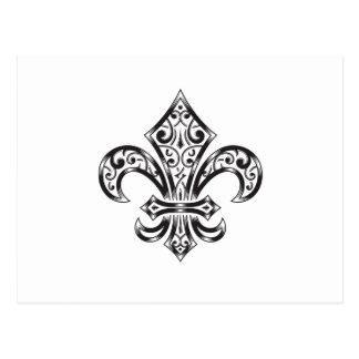 紋章学のスタイルのスクロールとのヴィンテージの(紋章の)フラ・ダ・リ ポストカード