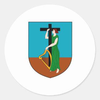 紋章学の記号モンセラートの公式の紋章付き外衣 丸形シール・ステッカー