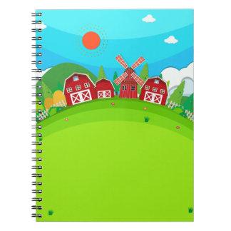納屋および風車が付いている農地 ノートブック