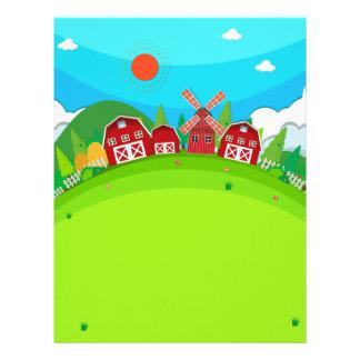納屋および風車が付いている農地 レターヘッド