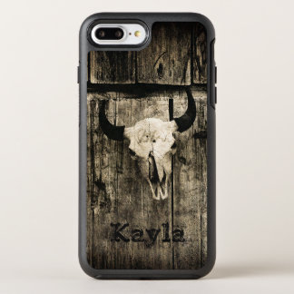 納屋に対する角が付いている素朴な水牛のスカル オッターボックスシンメトリーiPhone 8 PLUS/7 PLUSケース