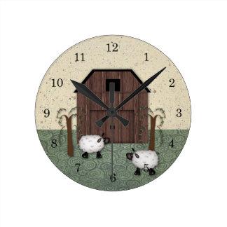 納屋のヒツジの柱時計 ラウンド壁時計