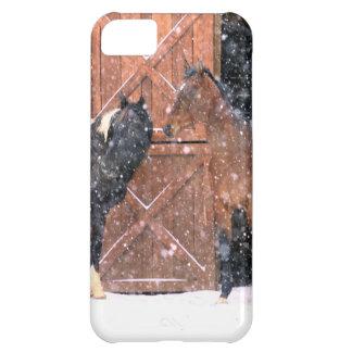 納屋の冬の雪の馬 iPhone5Cケース