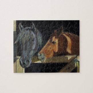 納屋の大戸の2頭の馬: 油のパステルの芸術 ジグソーパズル