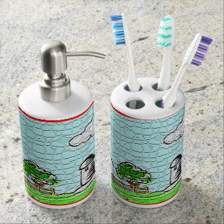 納屋の景色の浴室セット 歯ブラシホルダー