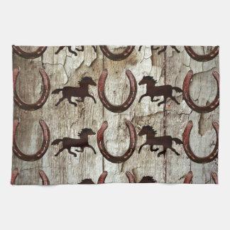 納屋の木製のカウボーイのギフトの馬の蹄鉄 キッチンタオル